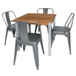 Bolero vierkante teak en aluminium tafel 80cm
