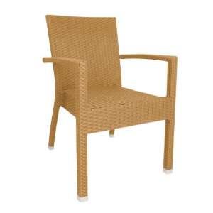 Bolero kunststof rotan stoel met armleuning naturel