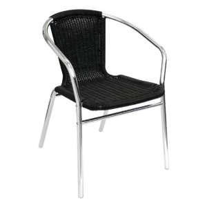 Bolero aluminium en rotan stoel zwart | 4 stuks