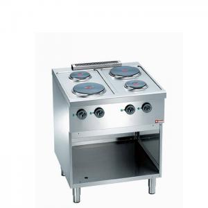 Elektrisch fornuis, 4 ronde kookplaten, op kast
