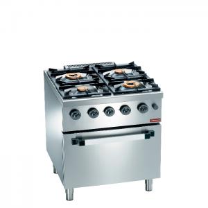 Gasfornuis 4 branders, elektrische convectie-oven GN 1/1