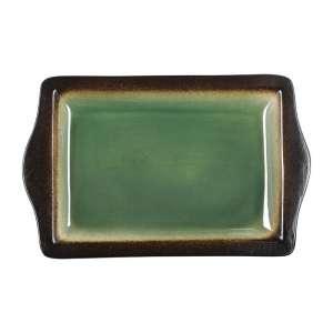 Olympia Nomi rechthoekige tapasschalen groen-zwart 28,3 x 17,8cm