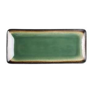 Olympia Nomi rechthoekige tapasborden groen-zwart 24,5 x 11cm