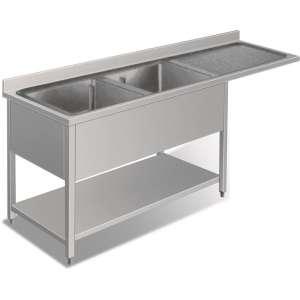 RVS Spoeltafel voor vaatwasmachine | Dubbele Bak | Links