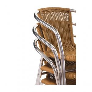 Bolero aluminium en rotan stoel naturel | 4 stuks